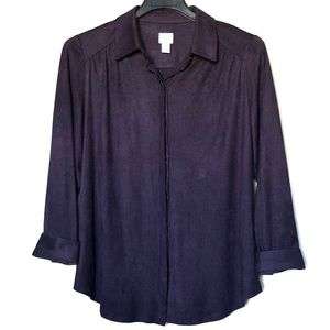 Chico's long sleeve button down blouse shirt Sz 2